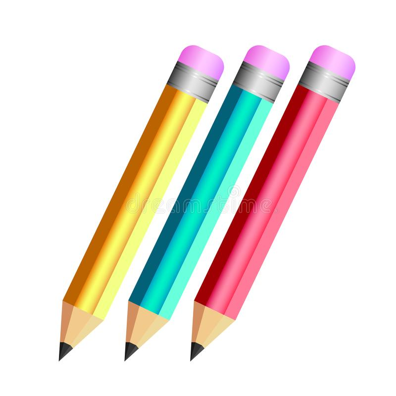 3 pencil color red blue yellow fun design royalty free illustration