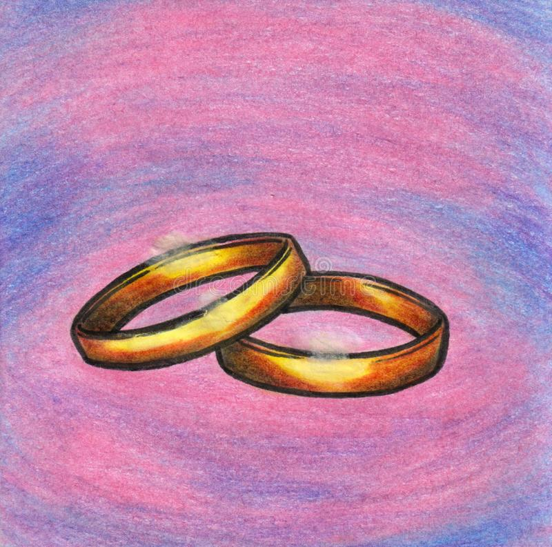 Pencil colored illustration of a pair of golden wedding rings royalty free stock images