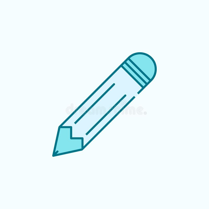 Pencil 2 colored line icon. Simple colored element illustration. pencil outline symbol design from web icons set on blue. Background royalty free illustration