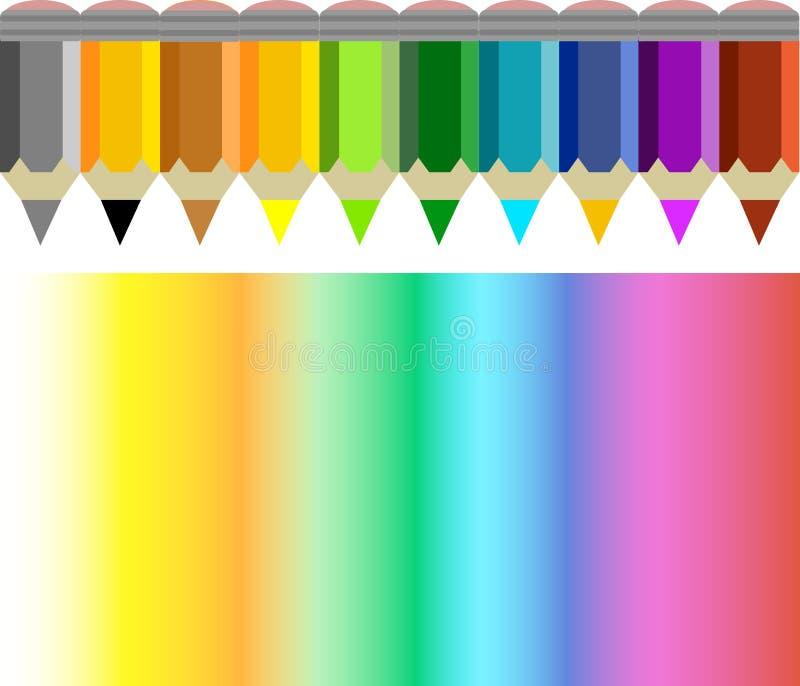 Pencil and coloured rainbow vector illustration