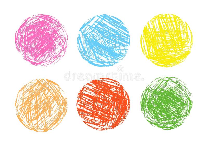Pencil and crayon like kid`s drawn colorful round design elements. Like child`s drawn pastel chalk circle background. stock illustration