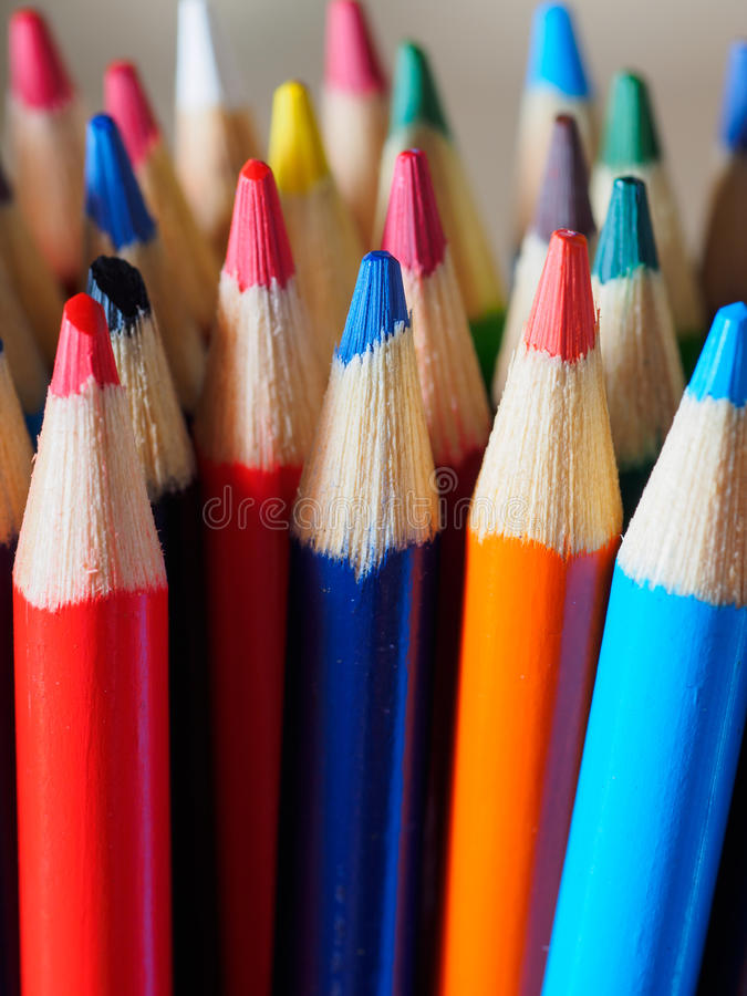 Pencil crayons. With many colors stock photo