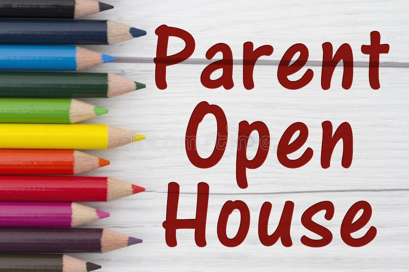 Pencil Crayons with text Parent Open House royalty free stock images