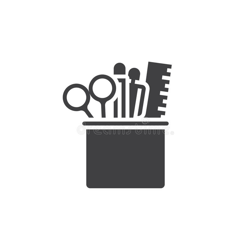 pencil cup with stationary icon vector solid logo