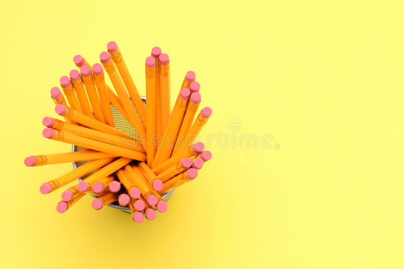 Download Pencil Cup On Yellow stock image. Image of pink, space - 33248115