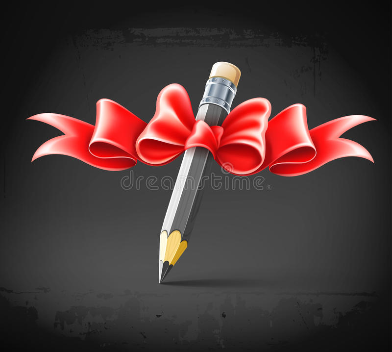 Pencil Decorated By Bow On Grunge Background Stock Images