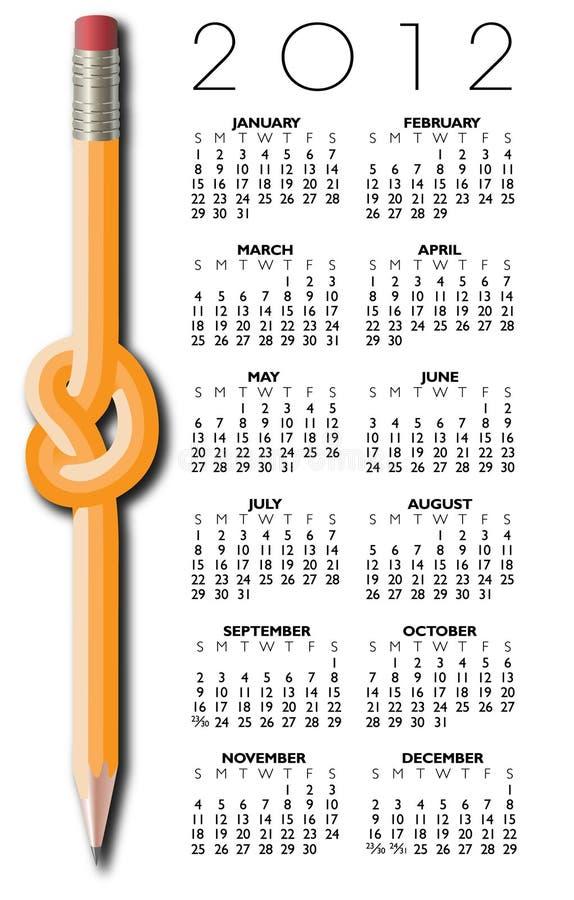 Pencil Design 2012 Calendar Stock Images