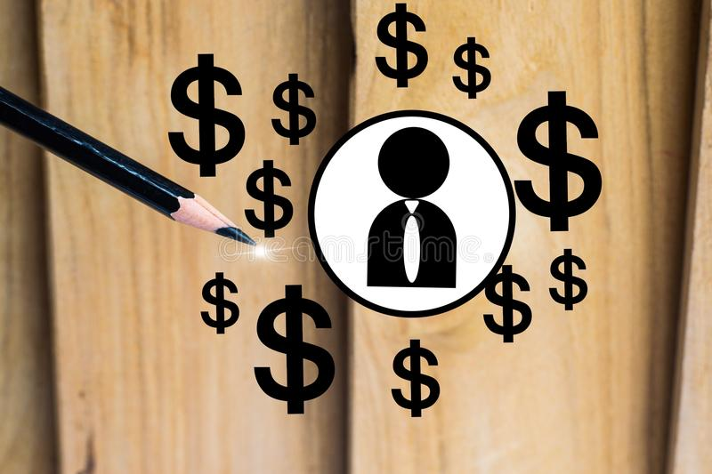 Pencil with dollar and man on wood board background. using wallpaper or background for education, business photo. Take note. Of the product for book with paper stock images