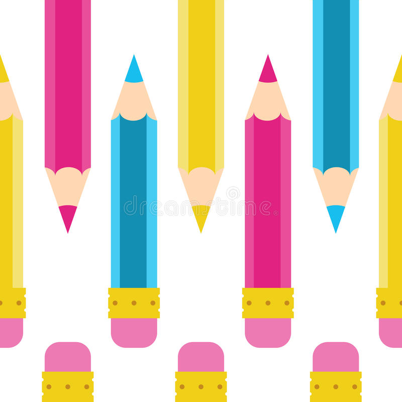 Pencil doodle Seamless vector pattern. Cartoon, yellow, pink, blue, cyan stock photos