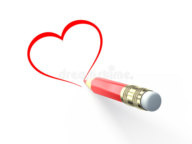 Pencil Draw The Heart Royalty Free Stock Images