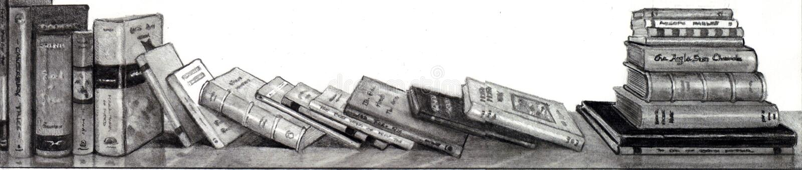 Download Pencil Drawing of Books stock illustration. Image of reading - 14185487