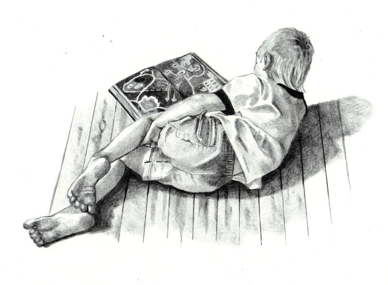 Download Pencil Drawing Of Boy Reading Book Stock Illustration - Illustration: 12619752