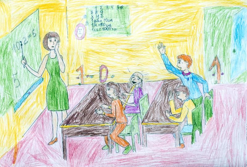 Pencil drawing. Children during a lesson at school. Children`s drawings royalty free stock images