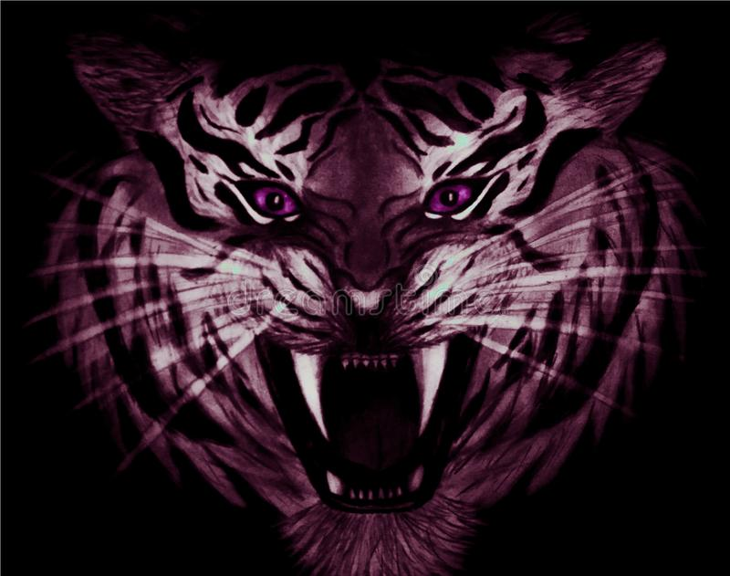 Pencil drawing of closeup of a menacing white and purple tiger with violet eyes isolated on black background vector illustration