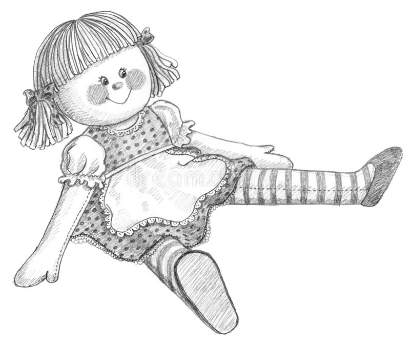 Pencil drawing of doll royalty free illustration