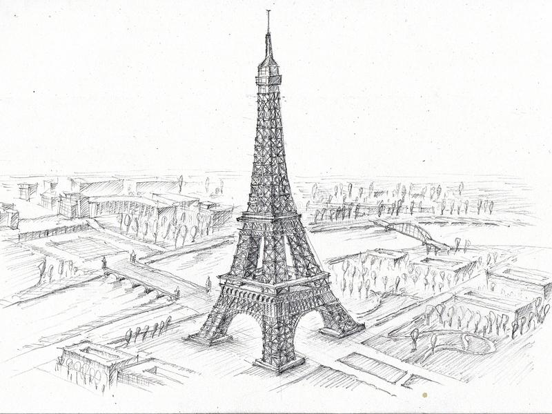 Pencil Drawing Eiffel Tower Stock Illustration