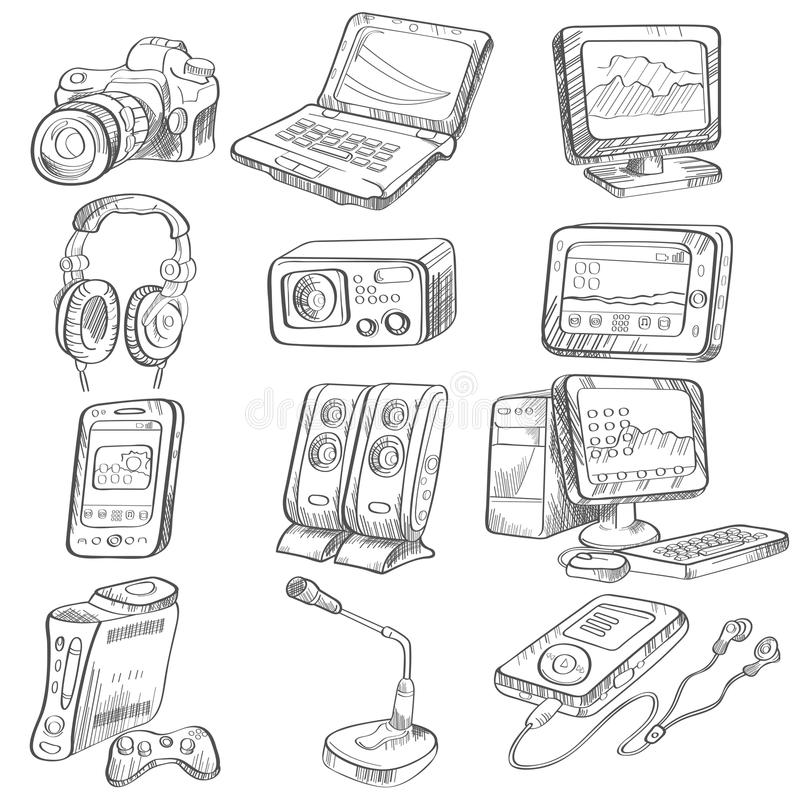 pencil drawing of electronic gadget stock vector