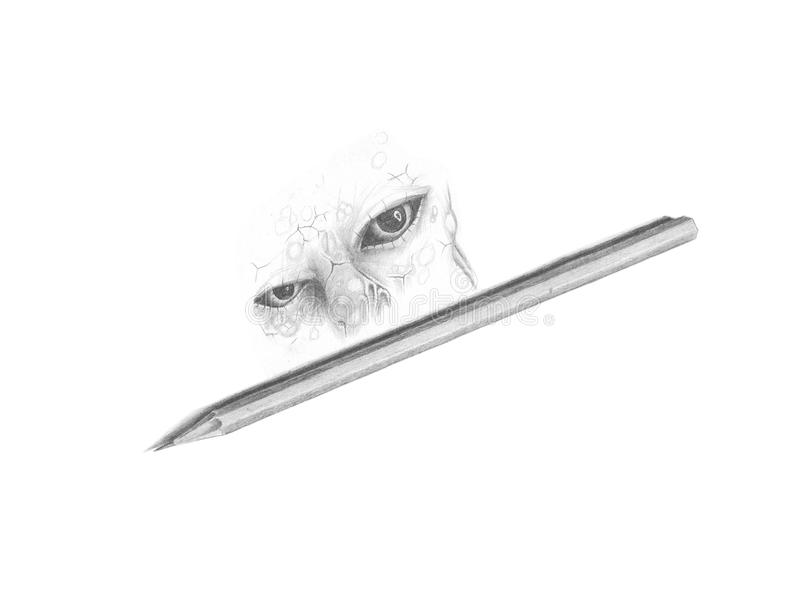 Pencil drawing eyes. Black and white image pencil drawing eyes royalty free stock photography