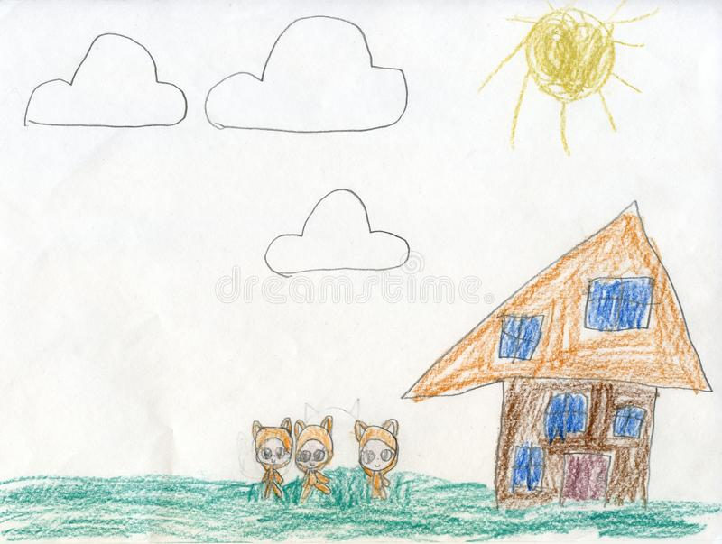 Pencil drawing. Fabulous, forest dwellers for a walk. Children`s drawings stock image