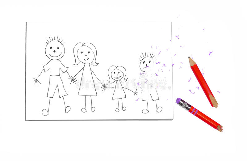 Pencil Drawing of Family with Boy Erased royalty free stock photo