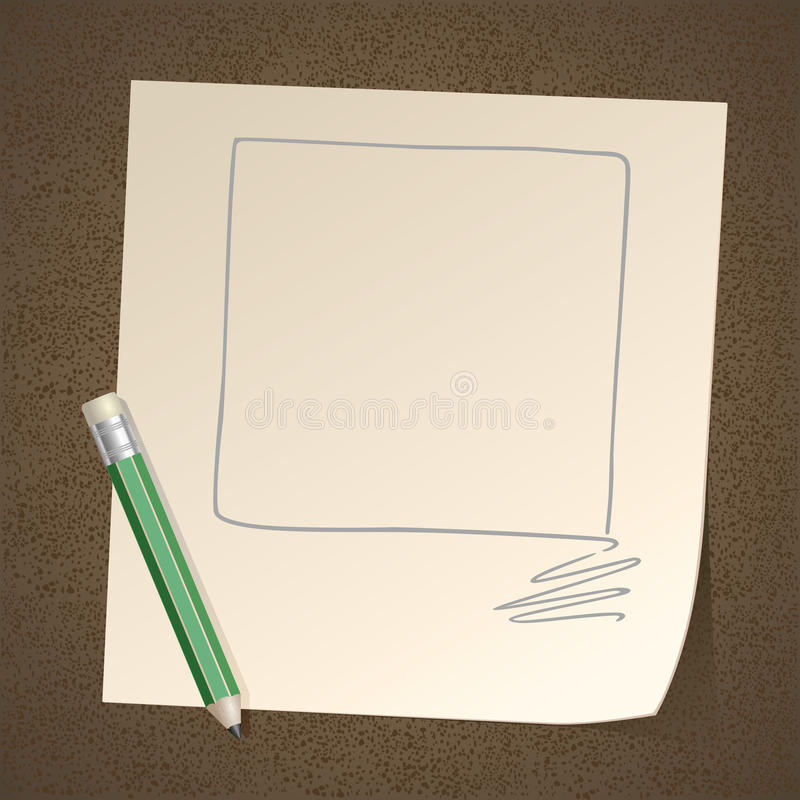 Pencil Drawing Frame Square On Paper Stock Photos