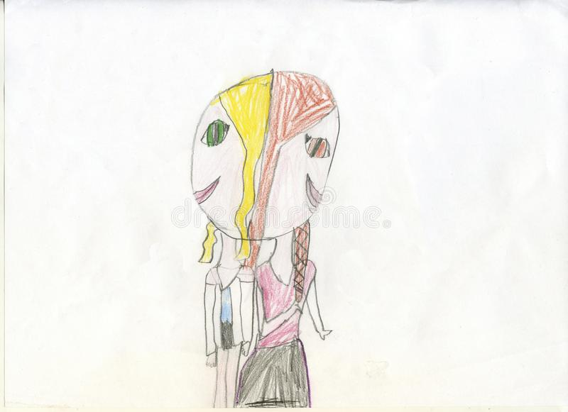 Pencil drawing. Girls - Siamese twins. Children`s drawings stock images