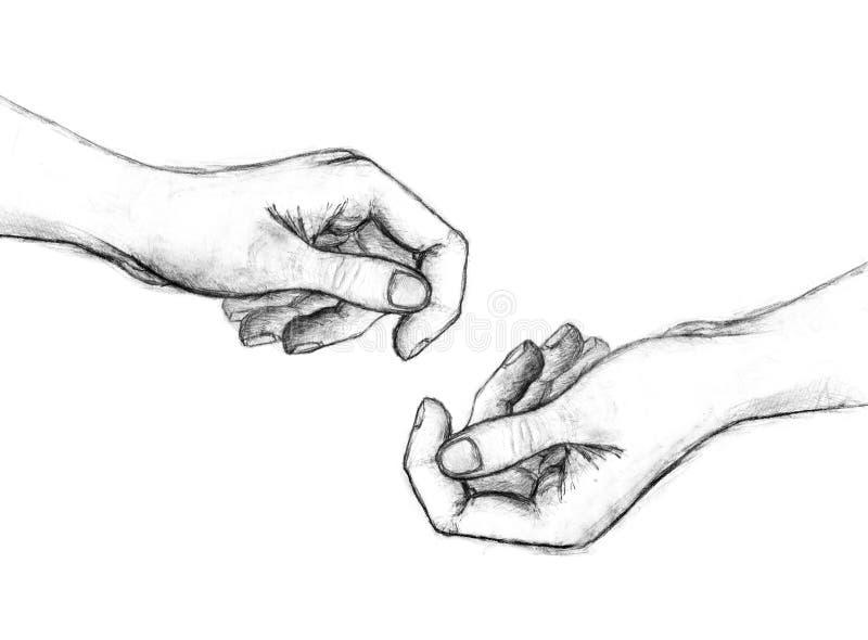 Pencil drawing of hands stock illustration image 52202453 for Disegni facili da disegnare a mano libera