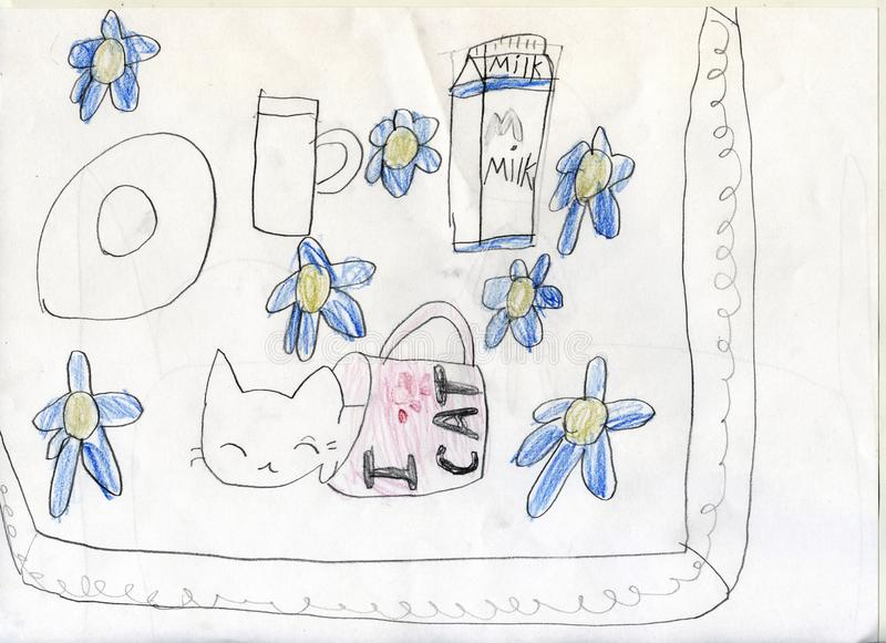 Pencil drawing. The kitten got drink on milk and sleeps in a milk cup. Children`s drawings. stock photos