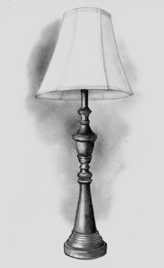 Download Pencil Drawing Of Lamp Stock Illustration. Illustration Of Dark    21364765