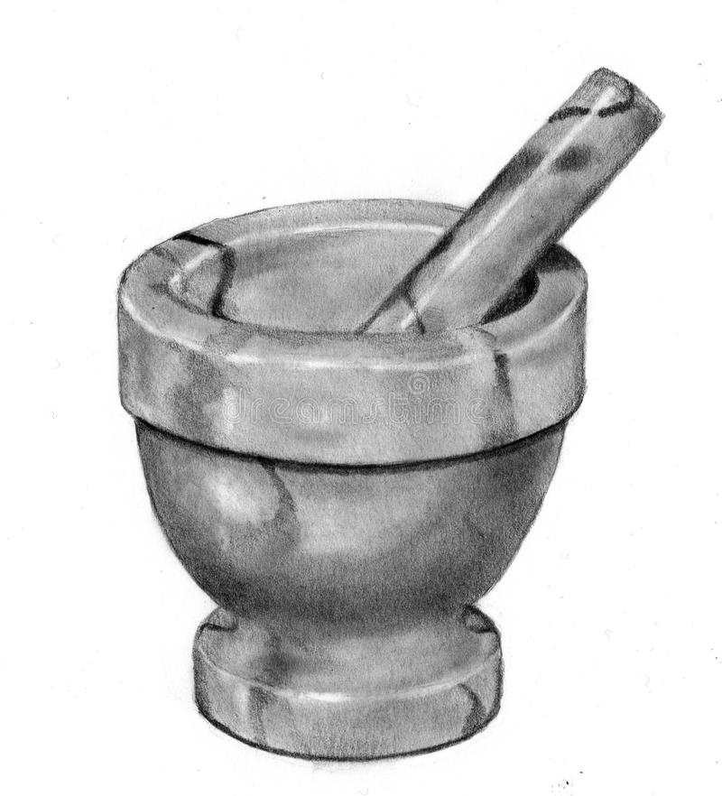 Download Pencil Drawing Of Mortar And Pestle Royalty Free Stock Photos - Image: 12713168