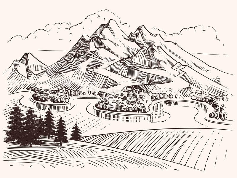 Download pencil drawing mountain landscape cartoon sketch mountains and fir trees vector illustration stock vector