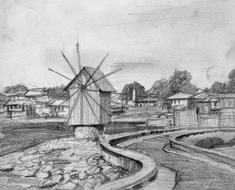 Download Pencil Drawing Of Nesebar Old Windmill Stock Illustration - Illustration: 31906202