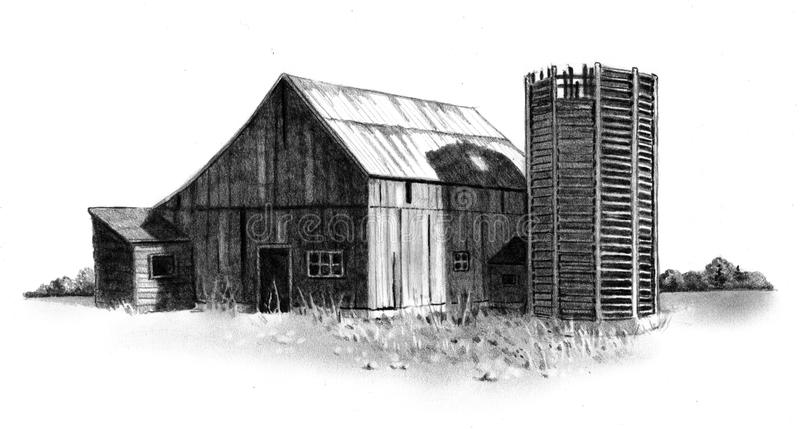Pencil Drawing of Old Barn and Silo stock illustration