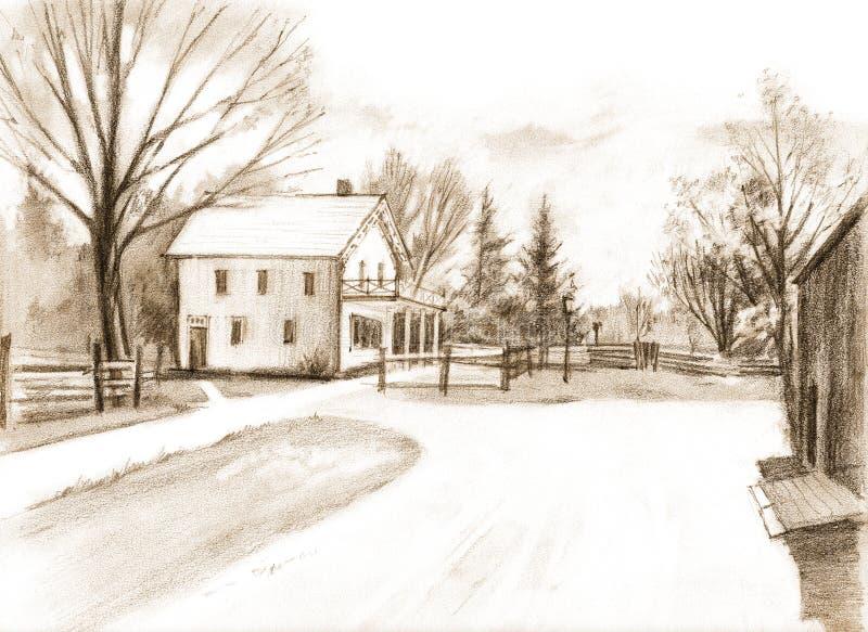 Pencil drawing on paper of the Half Way House. Black Creek Pioneer Village. Heritage museum in Toronto, Ontario, Canada. Pencil sketch of the Half Way House royalty free illustration