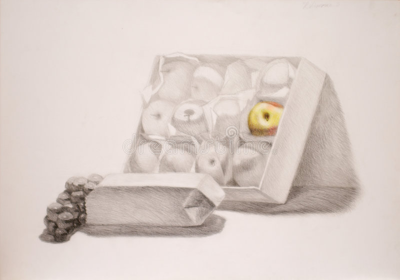 Pencil drawing of still life stock photos