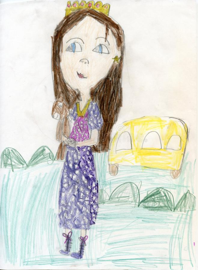 Pencil drawing. Teen girl on a walk. Children`s drawings stock photo