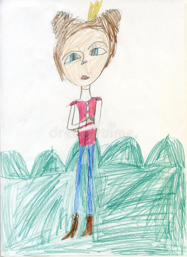 Pencil drawing. Teen girl on a walk. Children`s drawings. Fairytale Princess. stock photos