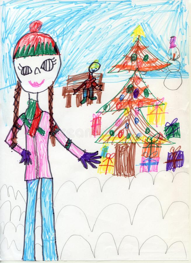 Pencil drawing. Teen girl on a walk. Children`s drawings. XMas royalty free stock photos