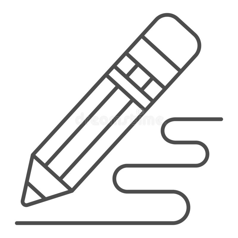 Pencil drawing thin line icon. Pencil and line vector illustration isolated on white. Writing tool outline style design stock illustration