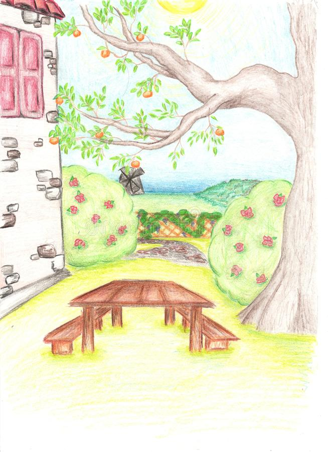 Pencil drawing of tree and house with the small garden stock photography