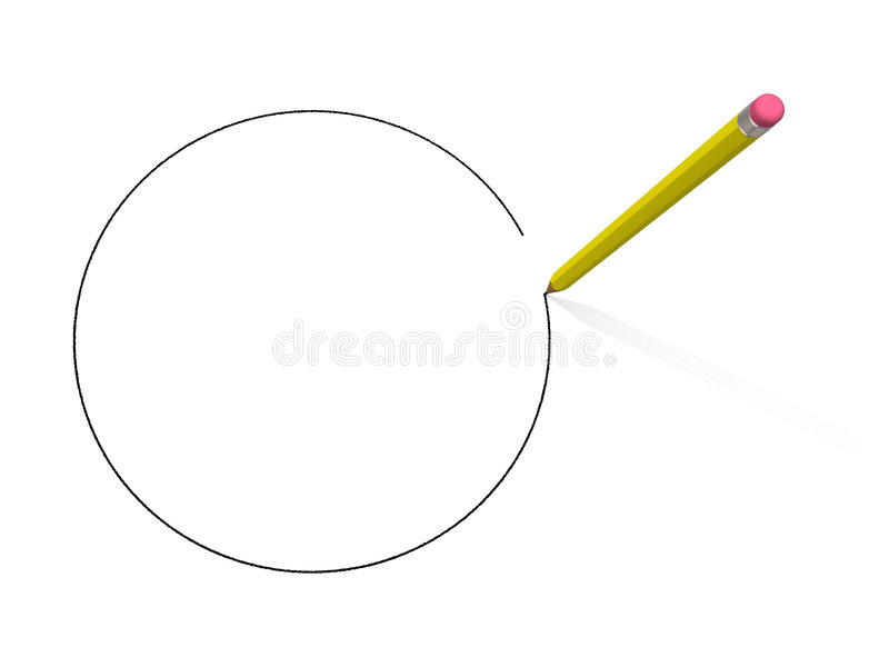Pencil drawn perfect cirlce. Perfect circle created with pencil royalty free illustration