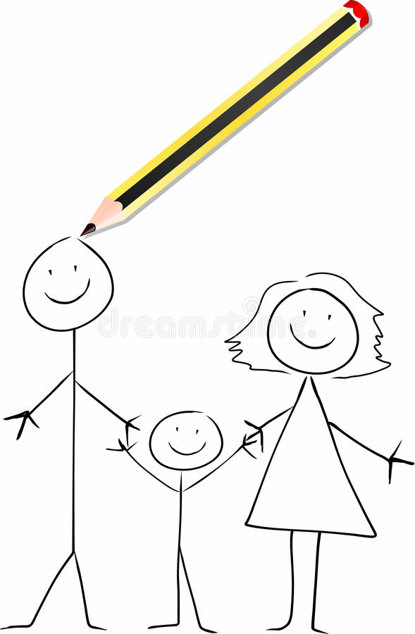 Download A pencil draws a family stock vector. Image of drawing - 13286078