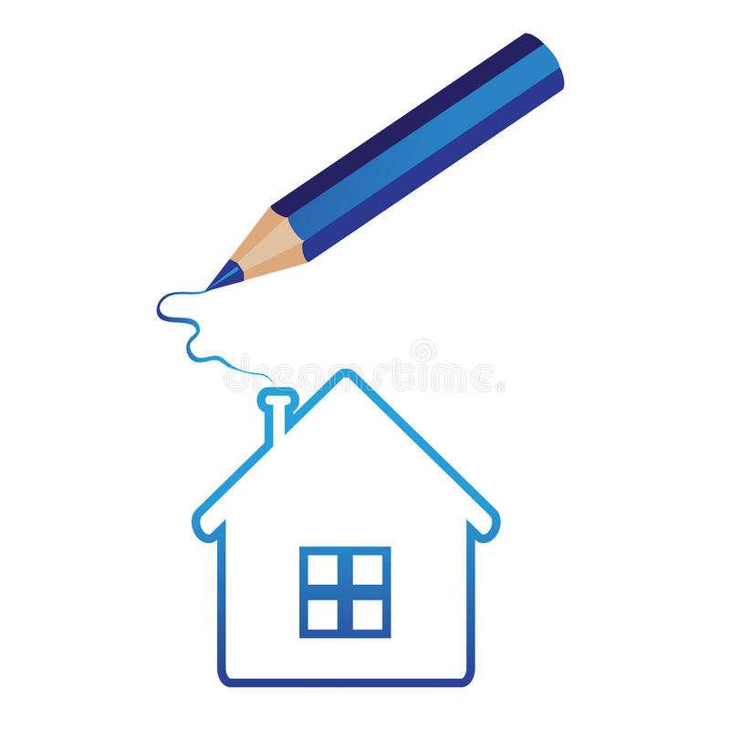 Pencil draws a house. House hand-drawn for ecological or real estate concepts. pencil draws the house on white background . Vector illustration vector illustration