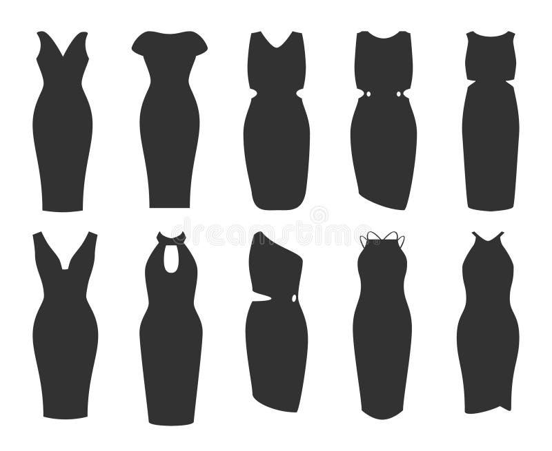 Pencil dress set. women dress collection icon stock illustration
