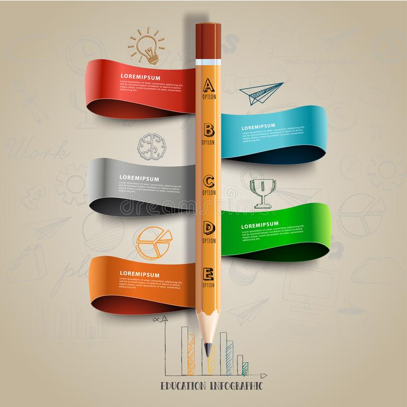 Pencil education for business infographic design concept. royalty free illustration