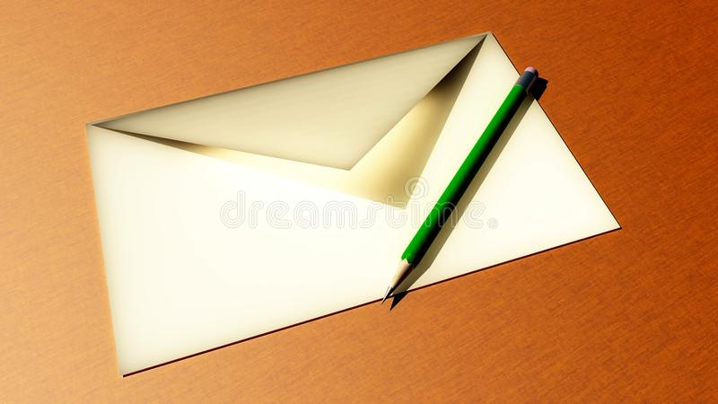 Pencil and envelope stock images