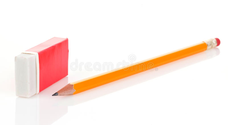 Pencil and eraser. Isolated on white background royalty free stock image