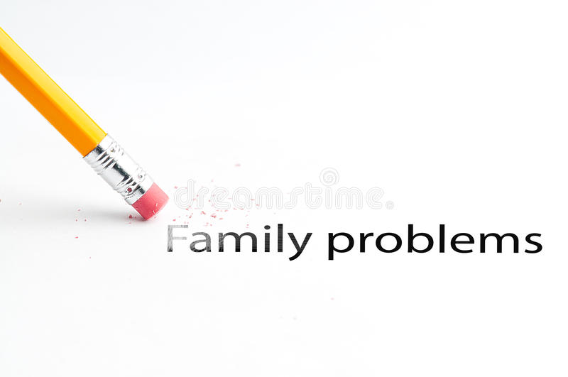 Pencil with eraser. Closeup of pencil eraser and black Family problems text. Family problems. Pencil with eraser stock image
