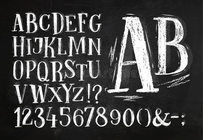 Pencil font alphabet royalty free illustration