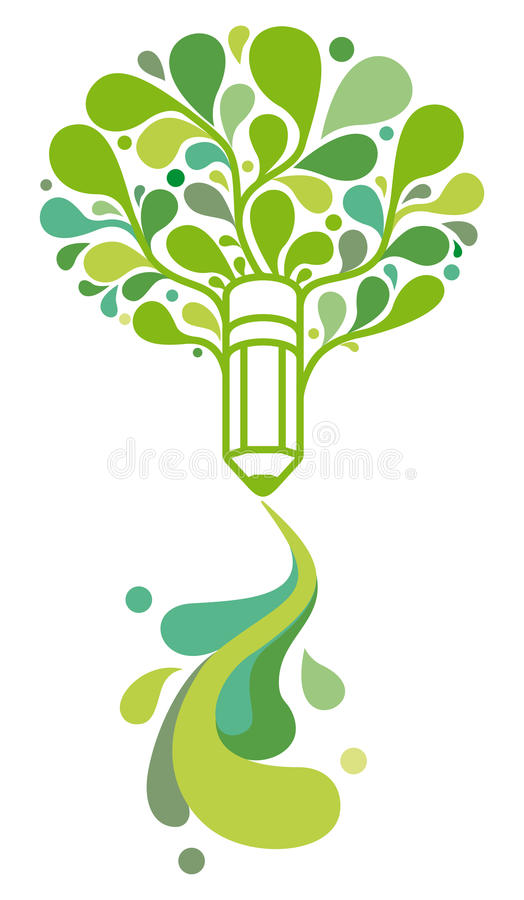 Pencil in form of tree vector illustration